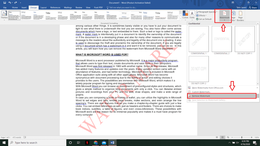 HOW TO REMOVE WATERMARK IN MS WORD