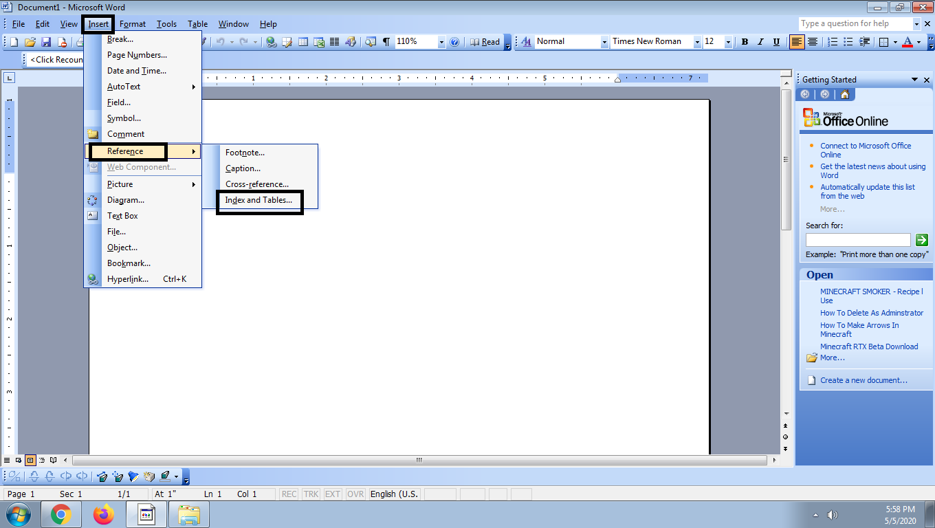 How To Insert A Table Of Contents In Word